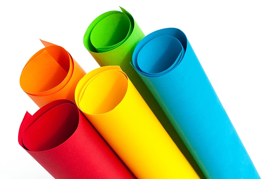 Multi-coloured rolls of paper