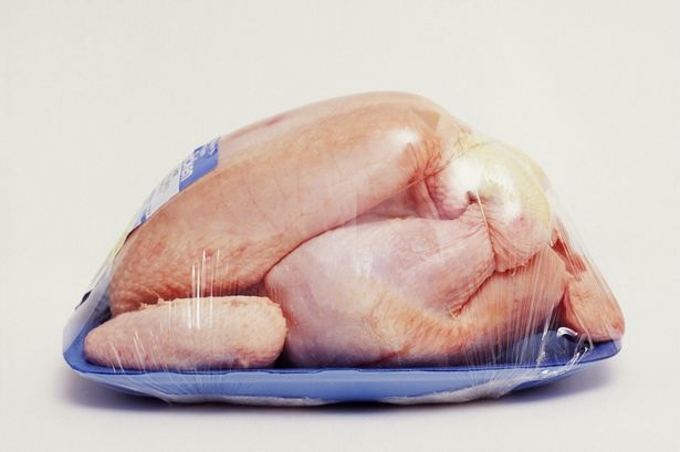 Raw chicken in plastic packaging