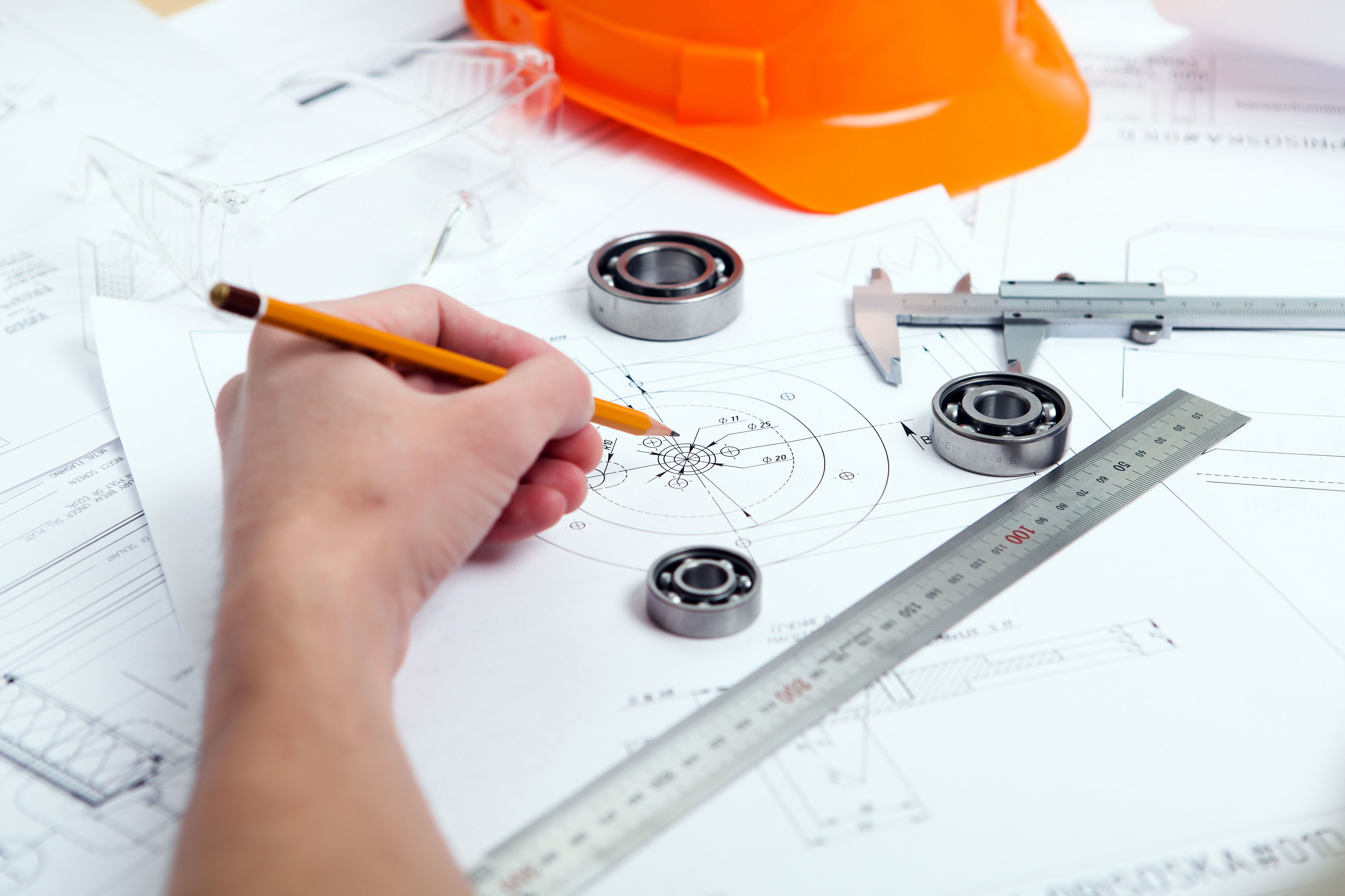 Architect creating a technical drawing