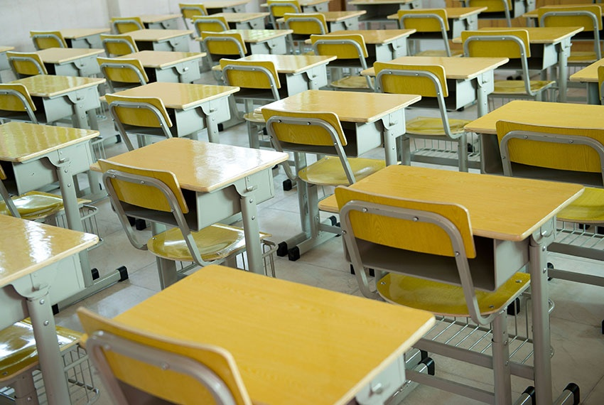 Rows of individual school desks